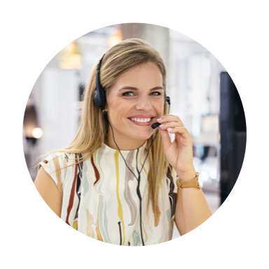 Image of smiling woman with headset on
