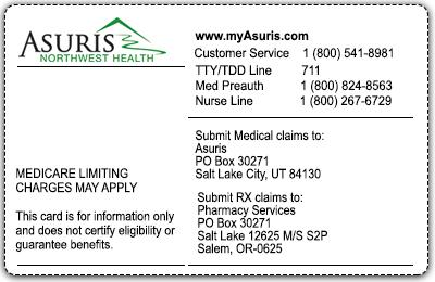 Medicare Advantage PPO sample member card back