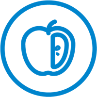 Icon of half apple