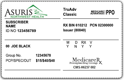 Medicare Advantage PPO sample member card front