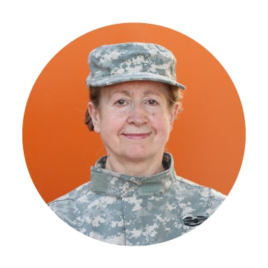 Mature woman wearing fatigues