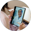 Circle image of woman on tablet interacting with doctor