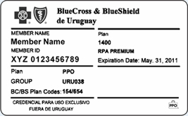 Front of member card from Uruguay