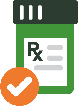 Graphic of a prescription medication bottle with a large checkmark