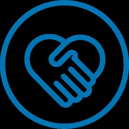 Icon handshake and heart