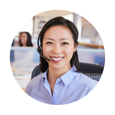image of woman with headset smiling