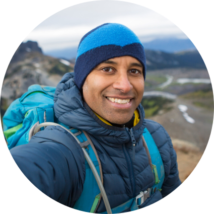 Image man backpacking on hike